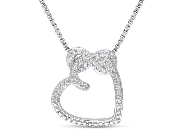 Amour Sterling Silver 0.05ct TDW Diamond Heart Pendant with Chain (G-H, I2-I3) (18in)