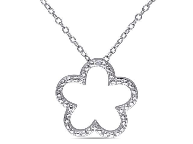 Amour Sterling Silver 0.005ct TDW Diamond Pendant with Chain (H-I, I3) (18in)