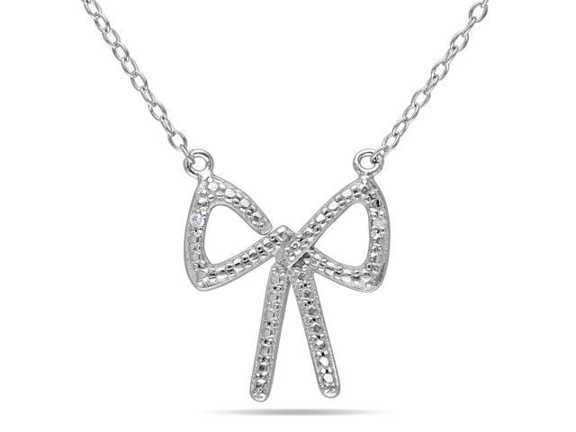 Amour Sterling Silver 0.01ct TDW Diamond Bow Necklace with Chain (H-I, I3) (18in)