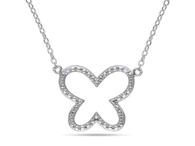 Amour Sterling Silver 0.01ct TDW Diamond Butterfly Pendant with Chain (H-I, I3) (18in)