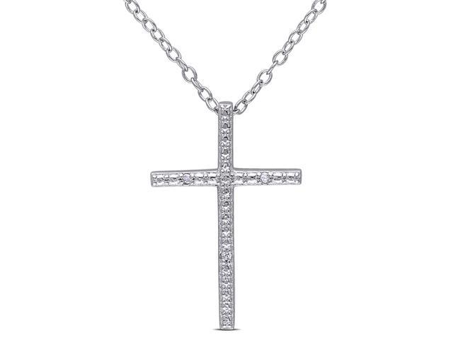Amour Sterling Silver 0.015ct TDW Diamond Cross Pendant with Chain (H-I, I3) (18in)