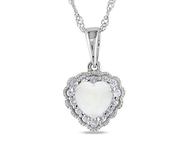 Amour 10k White Gold 1/3ct TGW Opal and 0.07ct TDW Diamond Heart Pendant (G-H, I2-I3) (17in)