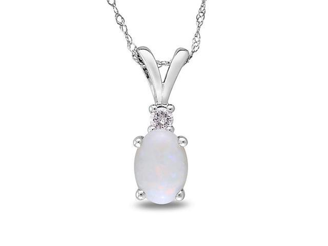 Amour 10k White Gold 1/2ct TGW Opal and 0.04ct TDW Diamond Pendant (G-H, I2-I3) (17in)