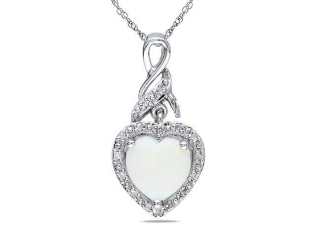 Amour Sterling Silver 1 1/5ct TGW Opal and 0.06ct TDW Diamond Heart Pendant (G-H, I2-I3) (18in)