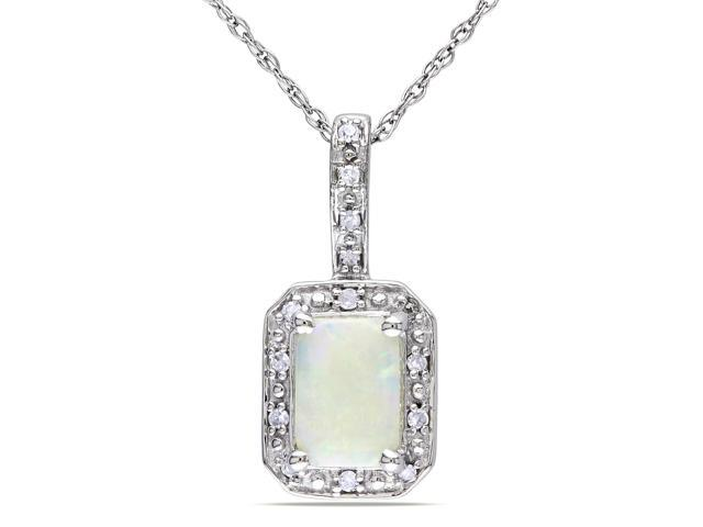 Amour 10k White Gold 3/4ct TGW Opal and 0.06ct TDW Diamond Pendant (G-H, I2-I3) (17in)