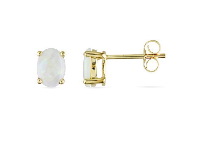 Amour 10k Yellow Gold 7/8ct TGW Opal Stud Earrings