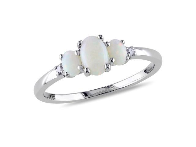 Amour 10k White Gold 2/5ct TGW Opal and 0.02ct TDW Diamond Three Stone Ring (G-H, I2-I3)