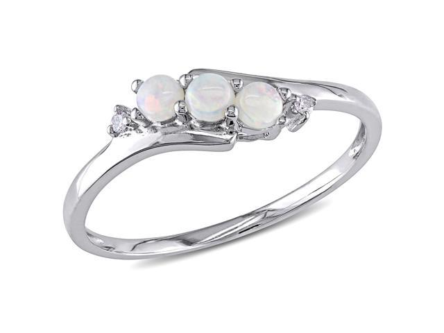 Amour 10k White Gold 1/5ct TGW Opal and 0.02ct TDW Diamond Ring (G-H, I2-I3)