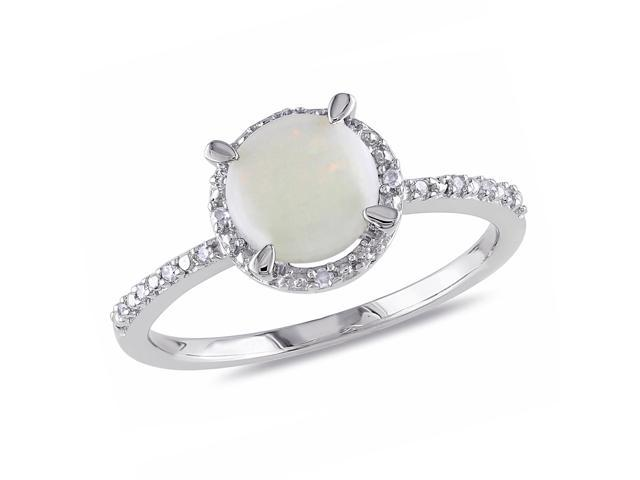 Amour Sterling Silver 1ct TGW Opal and 0.05ct TDW Diamond Ring (G-H, I3)