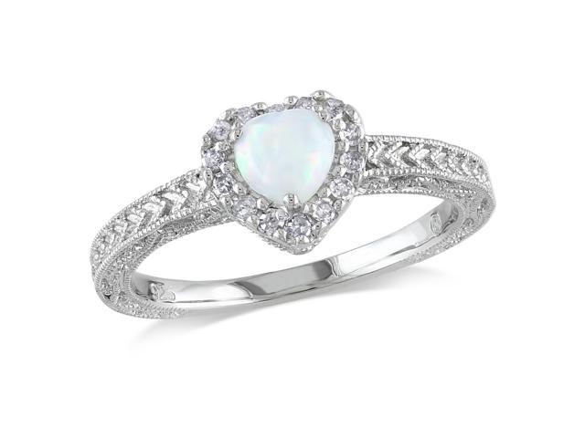 Amour Sterling Silver 1/3ct TGW Opal and 1/6ct TDW Diamond Heart Ring (G-H, I3)