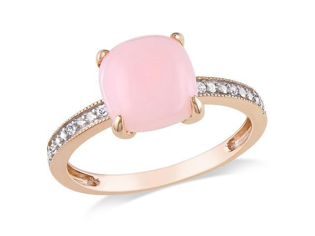 Amour 10k Rose Gold 1 1/3ct TGW Pink Opal and 0.03ct TDW Diamond Ring (G-H, I1-I2)