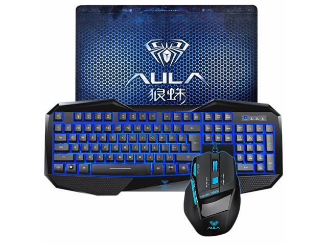 AULA USB Gaming Keyboard Mouse and Mouse Pad Combo with LED Blue Backlit