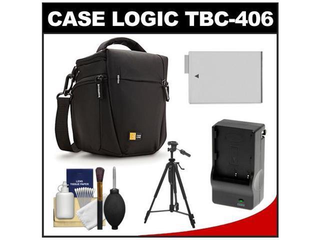 Case Logic TBC-406 Digital SLR Camera Holster Case (Black) with LP-E8 Battery & Charger + Tripod + Kit for Rebel T3i, T4i, ...