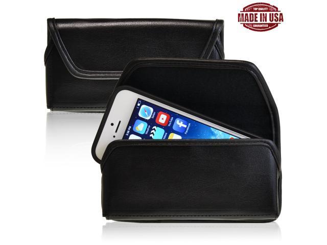 Turtleback iPhone 5 5S 5C Black Leather Pouch Holster Black Belt Clip Case