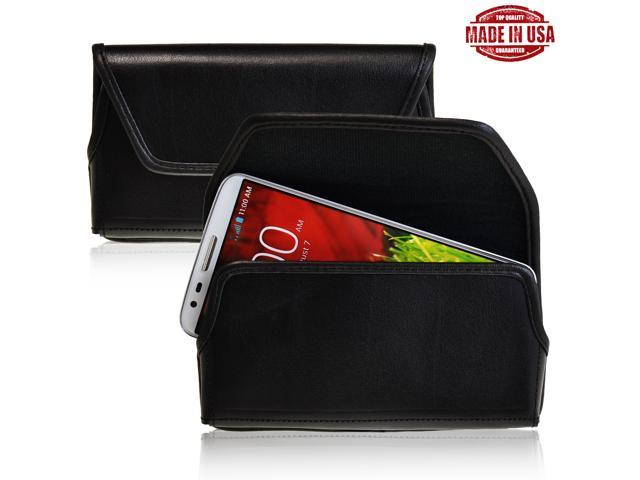 LG G2 Holster Black Belt Clip Case Pouch Leather Turtleback