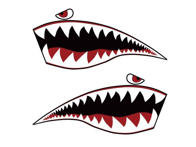 Warhawk Sticker Decal Flying Tiger Shark Teeth Fighter Jet