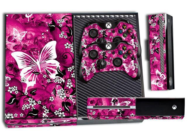 Microsoft Xbox ONE  Console Skin plus 2 Controller Skins - Pink Butterflies