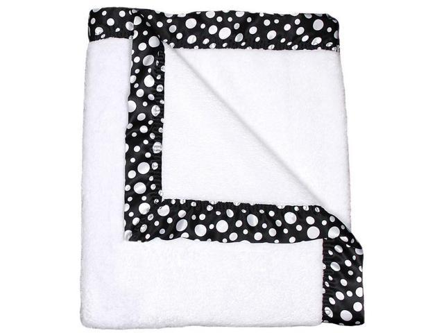 Raindrops Unisex Baby Flurr Receiving Blanket, Black With White Dots, 28