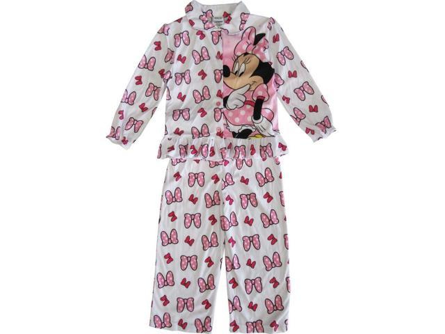 Disney Little Girls Pink White Minnie Mouse Bow Print 2 Pc Pajama Set 2T