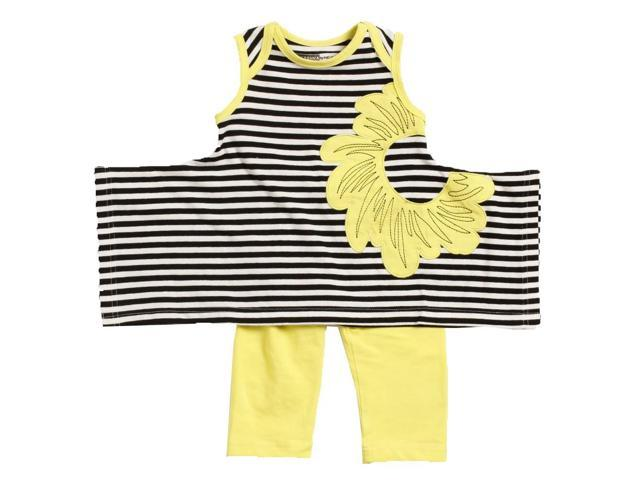 KidCuteTure Baby Girls Sprite Yellow Stripe Karrie Tunic Leggings Outfit 18M
