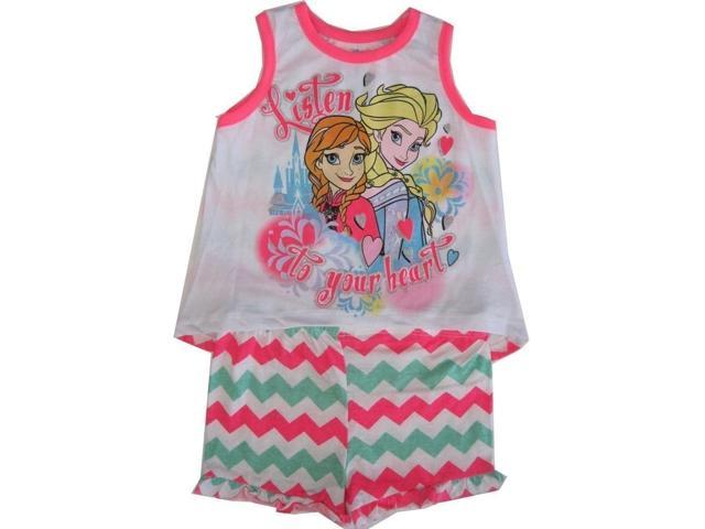 Disney Little Girls Neon Pink Anna Elsa Chevron Stripe Tank Top Shorts Set 4T