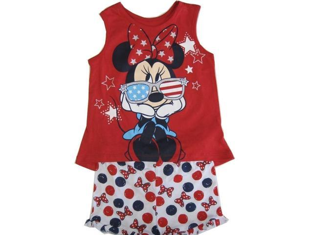Disney Little Girls Red Minnie Patriotic Print Tank Top Dot 2 Pc Shorts Set 2T
