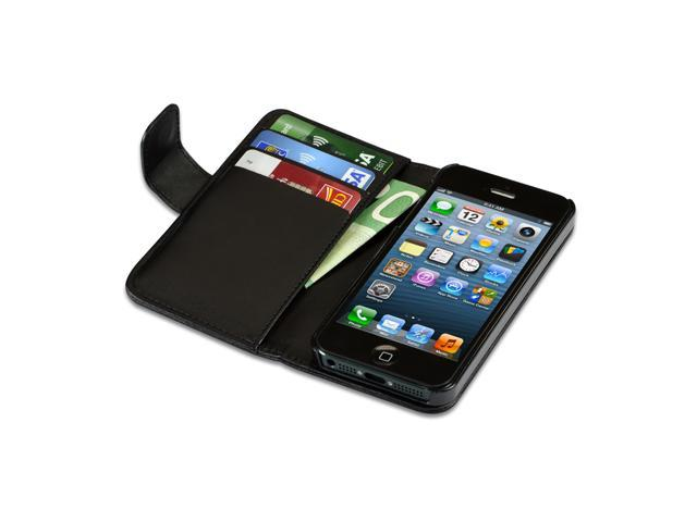 iPhone 5/5S Flip Black Lambskin Case