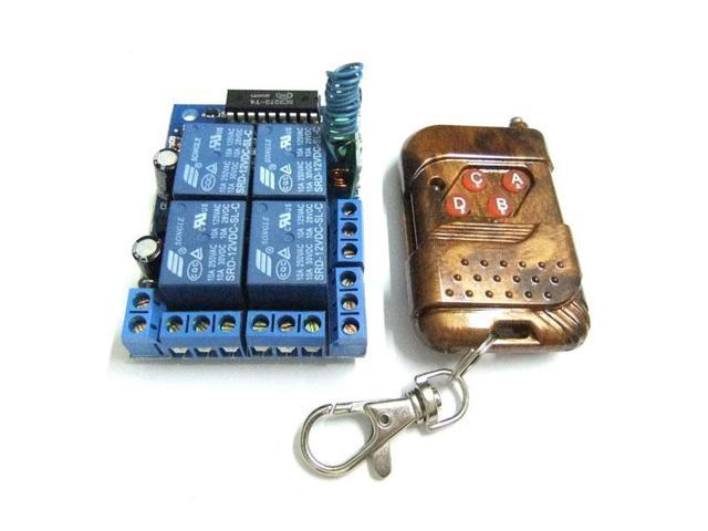 DC 12V 4 Channel Self-Lock Wireless Remote Controller Switching Board Control Transmitter Receiver