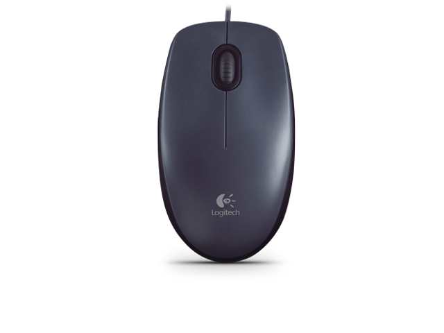 Logitech M90 1000DPI Wired Corded Optical USB Mouse For Both Left/Right Hands - Black