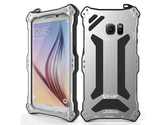 R-just NEW Gundam Series Case Shockproof Shell Heavy Duty Metal Cover for Samsung Galaxy S6 Edge Silver