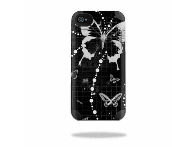 Mightyskins Protective Vinyl Skin Decal Cover for Mophie Juice Pack Air Apple iPhone 4/4S Battery Case wrap sticker skins Black Butterfly