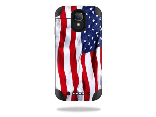 Mightyskins Protective Vinyl Skin Decal Cover for Mophie Juice Pack Samsung Galaxy S4 External Battery Case wrap sticker skins American Flag