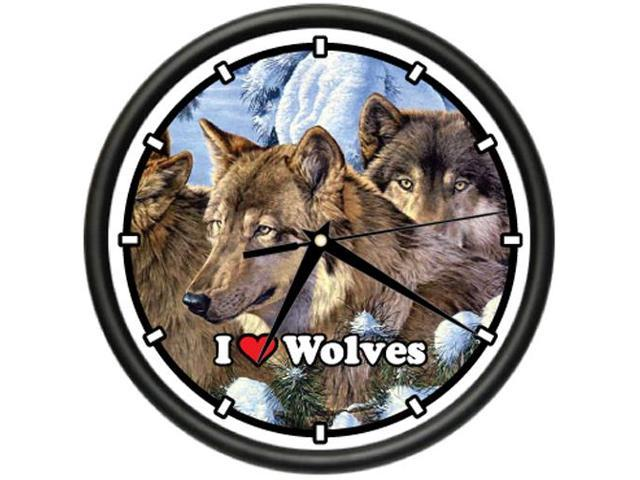 Wolves Wall Clock Wolf Home Cabin Decor Artwork Gift
