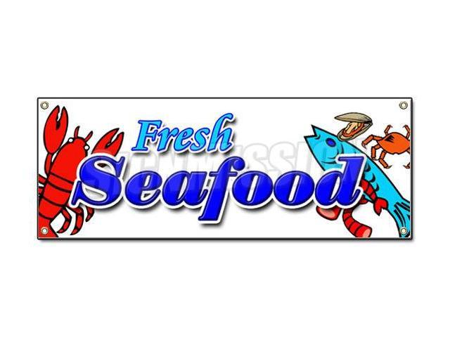 FRESH SEAFOOD BANNER SIGN fish market shrimp new signs ...