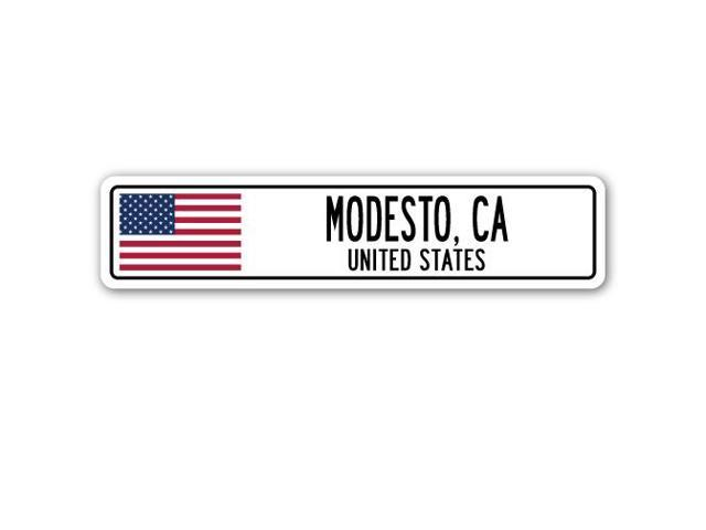 Modesto (CA) United States  city images : MODESTO, CA, UNITED STATES Street Sign American flag city country gift ...
