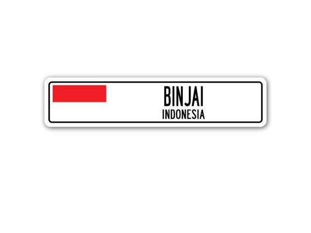 Binjai Indonesia  City new picture : BINJAI, INDONESIA Street Sign Indonesian flag city country road wall ...