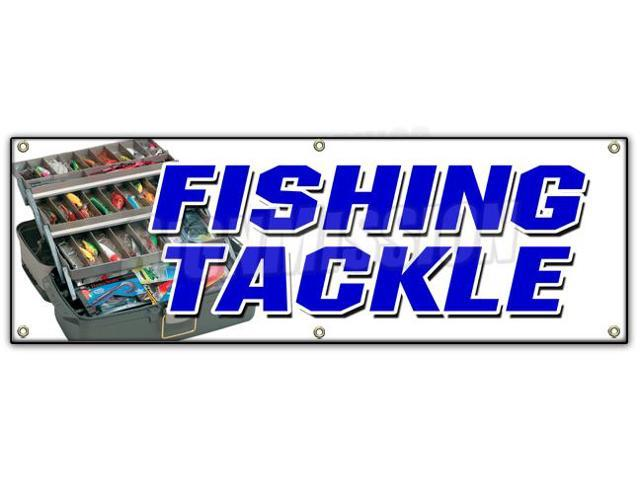72 fishing tackle banner sign fish rods reels rentals for Fishing equipment rental