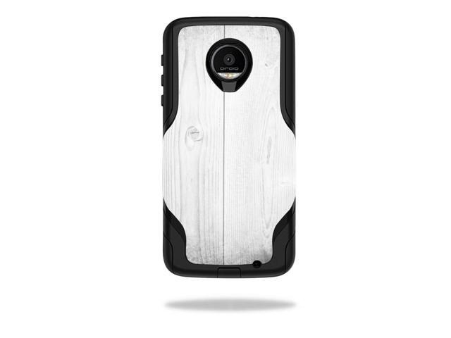 Skin Decal Wrap for OtterBox Commuter Moto Z Force Droid White Wood