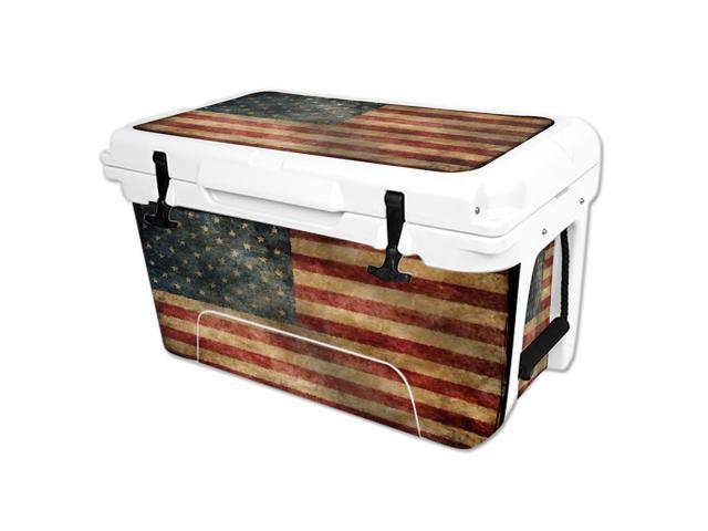 Skin Decal Wrap for RTIC 45 qt Cooler cover sticker Vintage Flag