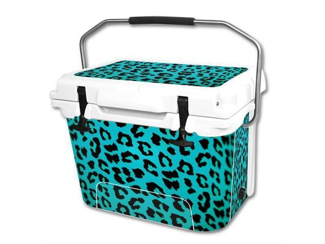 Skin Decal Wrap for RTIC 20 qt Cooler cover sticker Teal Leopard
