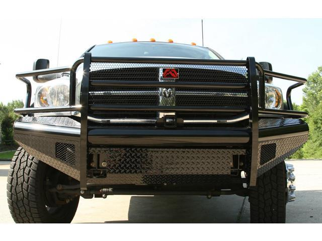 Fab Fours DR06-S1160-1 Black Steel; Front Ranch Bumper; 2 Stage Black Powder Coated; w/Full Grill