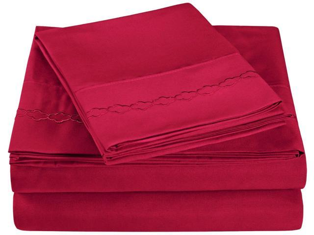 Impressions King Sheet Set Microfiber Embroidered CLOUDS Design, GIFT BOX, Burgundy