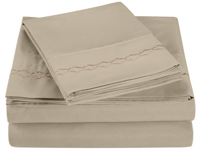 Impressions King Sheet Set Microfiber Embroidered CLOUDS Design, GIFT BOX, Tan
