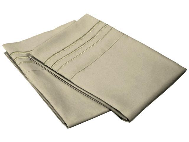 Impressions Standard Pillowcases Wrinkle Free Microfiber,Embroidered,2-Piece Set,Sage