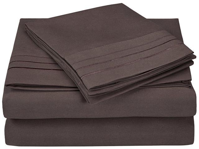 Impressions King Sheet Set Microfiber Embroidered 3 LINE Design,GIFT BOX, Charcoal