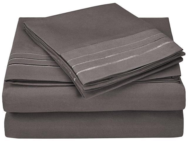 Impressions Queen Sheet Set Microfiber Embroidered 3 LINE Design,GIFT BOX, Silver