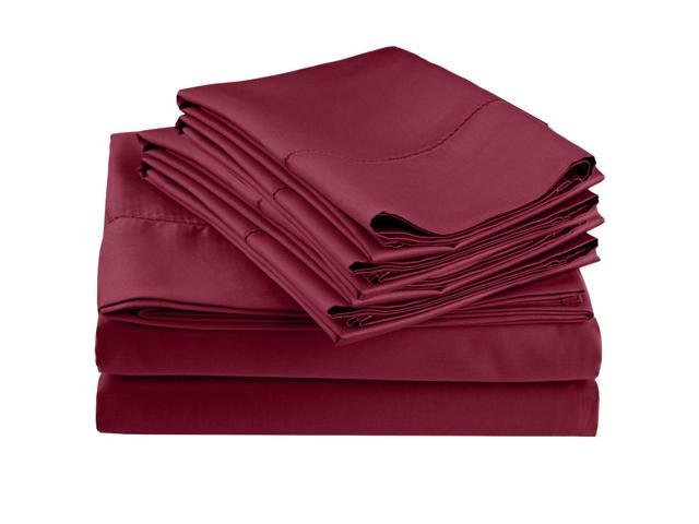 Impressions Embroidered Hem Stitch Sheet Set, Extra Pillowcases, Twin XL, Wine