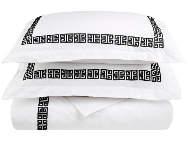 Impressions KENDELL Embroidered Duvet Cover Set,100% Cotton,King/Cal King, White/Black