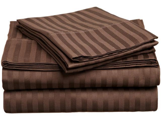 Impressions Striped 300-Thread Sheet Set, Premium Long-Staple Cotton, Twin, Mocha