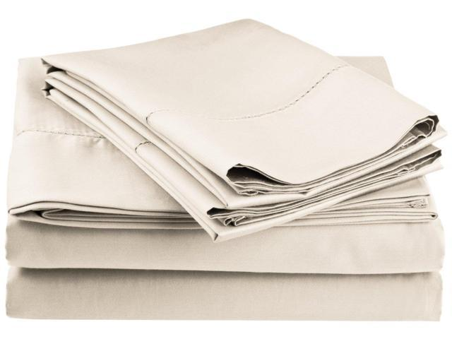 Impressions Embroidered Hem Stitch Sheet Set, 600-Thread-Count, King, Ivory